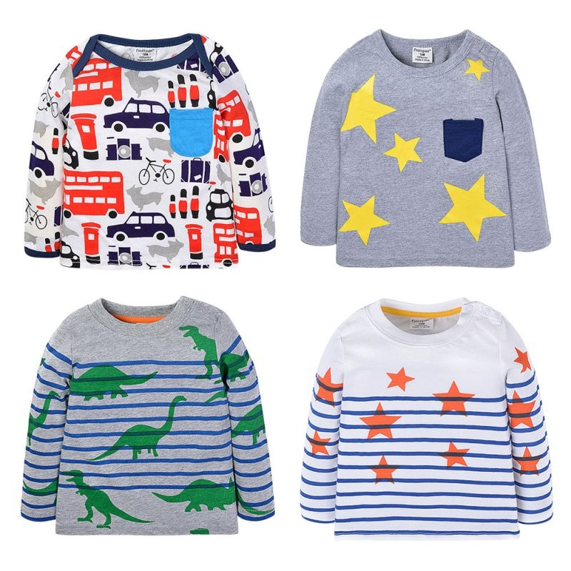 Baby Girls Boys Shirts Blouse Cotton Long Sleeve Printed Children Tees T Shirt 0-6Y