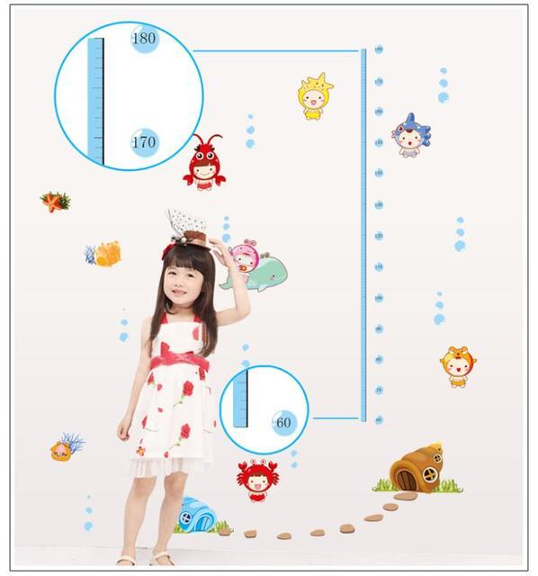 Новый милый море подводный измерения высоты наклейки для детей девочек мальчиков комнаты украшения DIY наклейки на стены