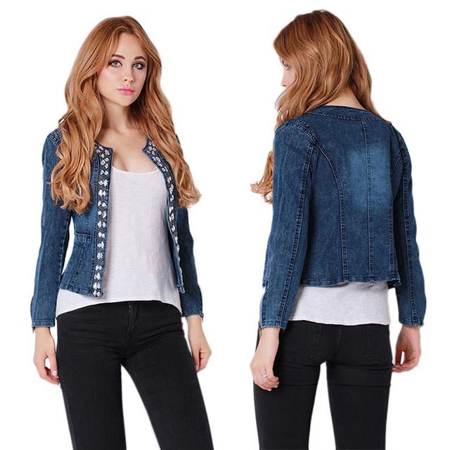 2016 весна леди джинсы одежда подходит горный хрусталь молния панк женского куртки ...