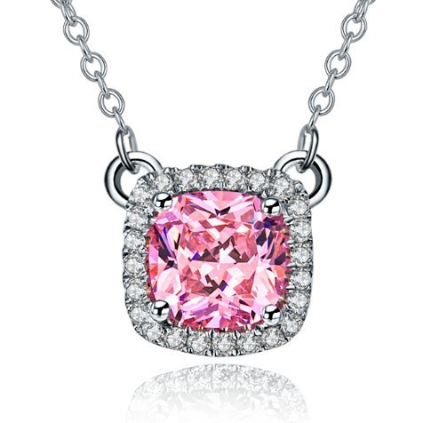 Elegant Women Necklace Silver Chain 1CT Pink Synthetic Diamond Pendanat Platinum Plated Necklaces & Pendants 925 Sterling Silver(China (Mainland))