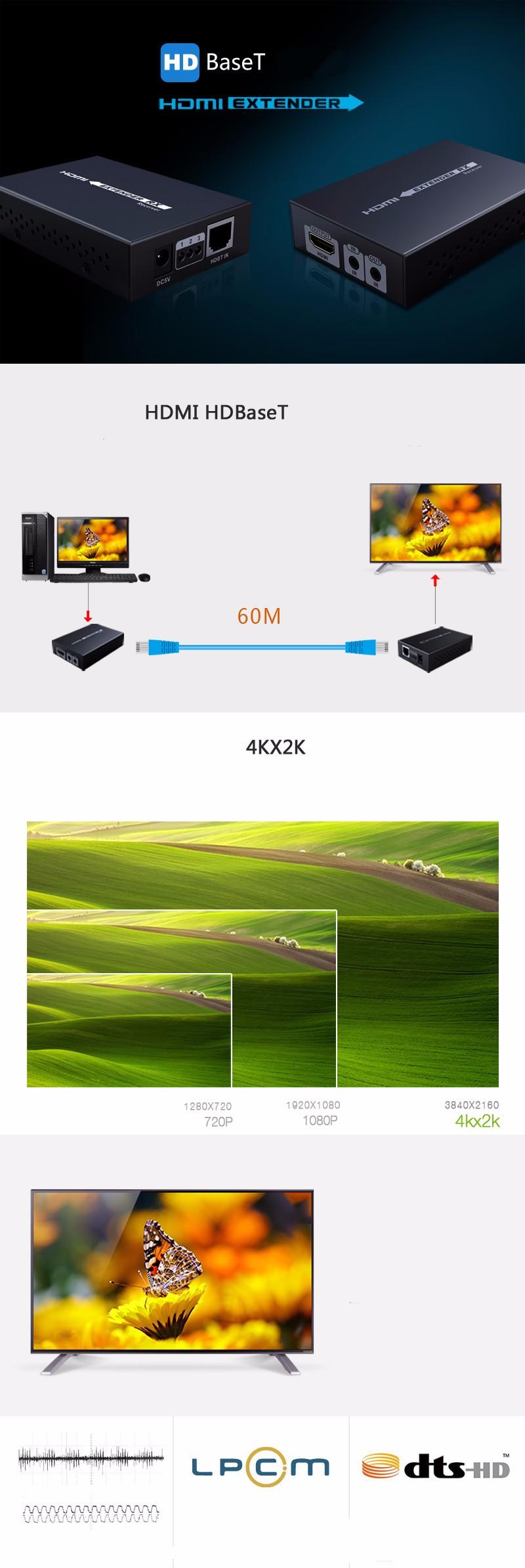 ถูก HDBaseT HDMI Extender 70เมตร4พัน* 2พัน3D HDBaseT HDMI IRระยะไกลLAN Extender Repeaterกว่าRJ45 CAT5E/6, CAT6A/7 HDMI 1.4โวลต์ได้ถึง70เมตร