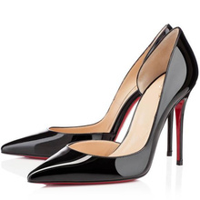 Black color pointed toe 100 mm high heels red bottom shoes woman thin heels shallow mouth beige size 40 41 fashion wedding shoes(China (Mainland))