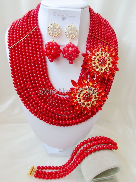 Amazing Red Nigerian Bead Necklaces Wedding Coral Beads Jewelry Set African Beads Jewelry Set CWS1085<br><br>Aliexpress