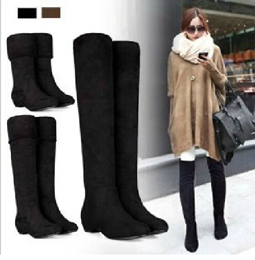 Fashion Womens Sexy Knee-high Long Boots Slim showing New Low Heel Winter Autumn Shoes Slip-on Leisure  Folding Casual XWX500(China (Mainland))