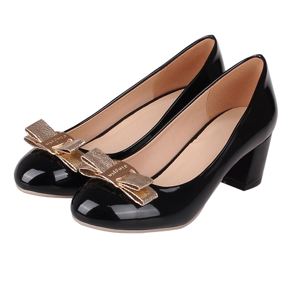 Фотография 2016 New Shoes Woman PU Square heel heel Wedding Party Office with Ribbons Fashion  More COLORS Spring/Autumn 0298