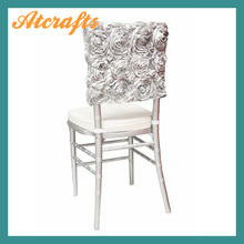 white wedding satin embroidery rosette chair cover cap(China (Mainland))