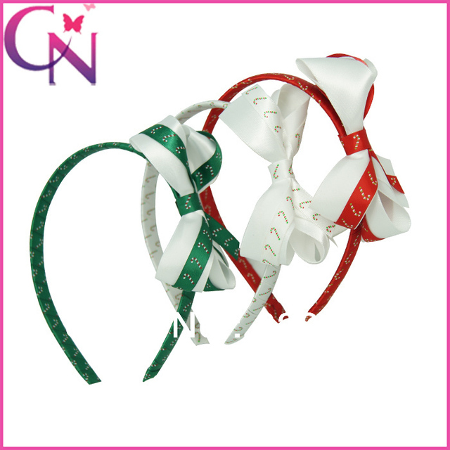Hot Sale 9 pieces/lot Christmas Hair Band With Ribbon Bow for baby girls  ZH9-1307062