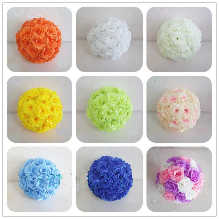 20CM Artificial Rose Silk Flower Kissing Balls Hanging Flowers Ball For Wedding Christmas Ornaments Party Decoration Supplies(China (Mainland))