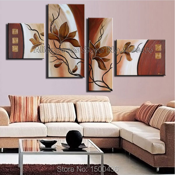 Hand Painted Modern Abstract Oil Painting Picture Flower Orchid Wall Art 4 Panels Canvas Decoration Home Set with No Frame(China (Mainland))