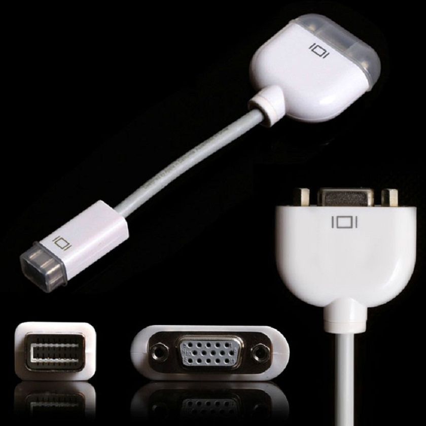 Adroit 2016 New Mini DVI to VGA Video Adapter Connector Cable For Apple For MacBook For PowerBook White Color JUN24(China (Mainland))
