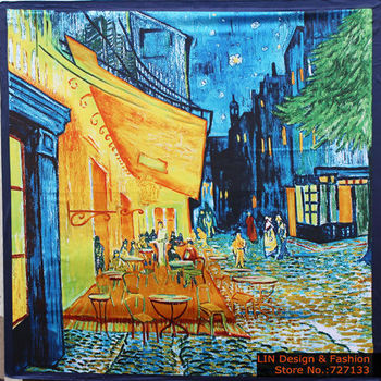 Free Shipping 2015 New Arrival Women Vincent van Gogh Oil Painting Coffee house big size silk scarf women shawls girl wraps NEW
