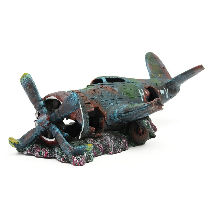Aquarium decoration resin plane wreck airplane artificial for Aquarium airplane decoration