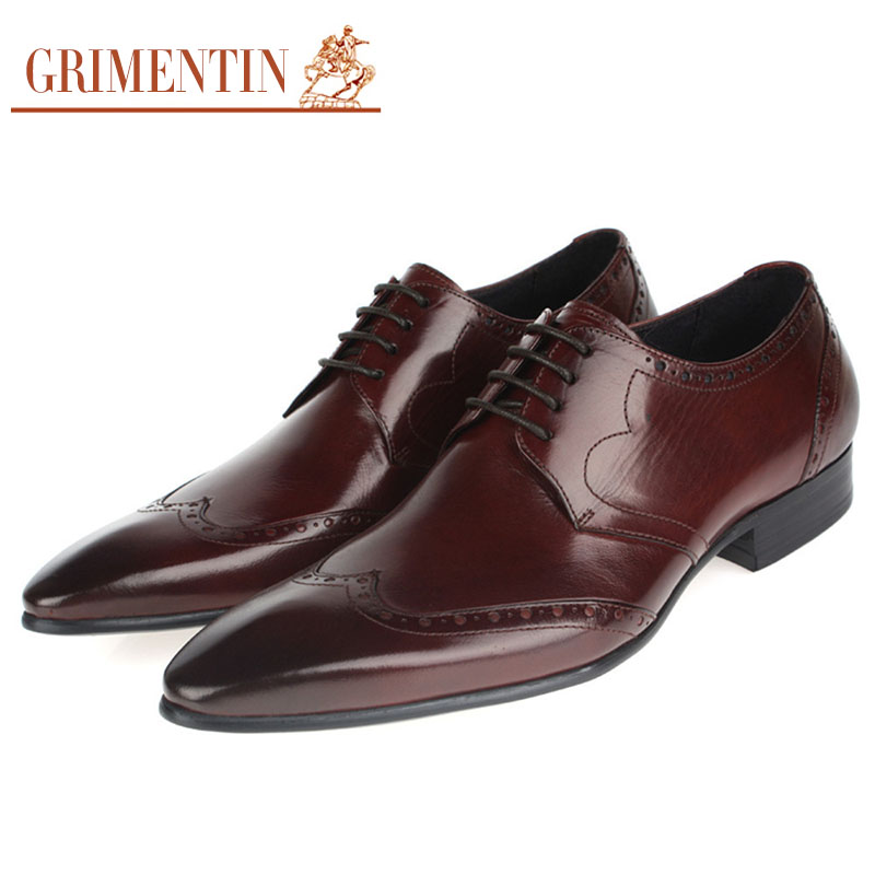 GRIMENTIN Fashion Mens Oxford Dress Shoes Genuine Leather Wingtip Italian Designer Shoes For Men Pointed Toe Flats OX778(China (Mainland))