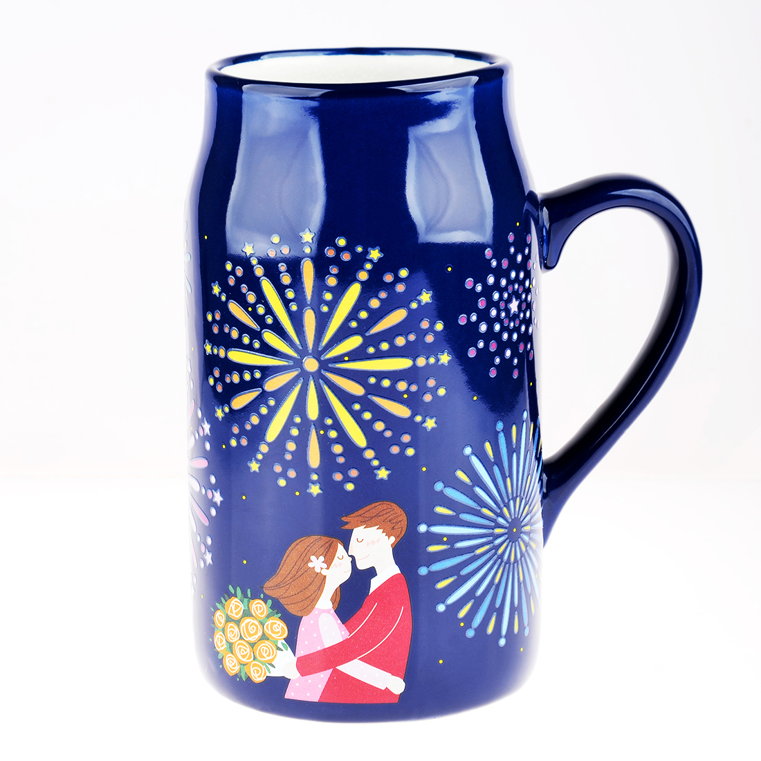 Romantic Nights Series Magic Porcelain Heat Sensitive Color Changing Mug Cup with Lid 550ML - Firefly,Shooting Star,Fireworks(China (Mainland))