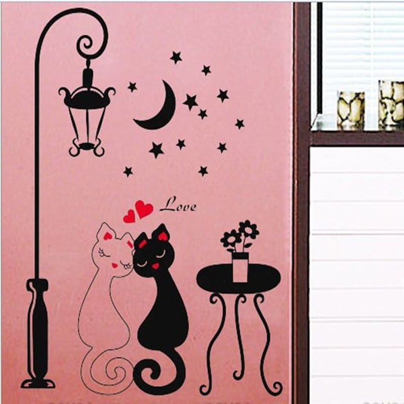 Lover Cat Wall Stickers Cute DIY Vinyl Wall Stickers For Rooms Home Decor Wall Art Mural Wallpaper Decoration adesivo de parede