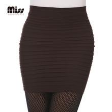 MISS 2016 7 Colors Spring Autumn Pencil Mini Skirt High Waist Women OL Ladies Work Office Short Pleated Pencil Skirts S5M269