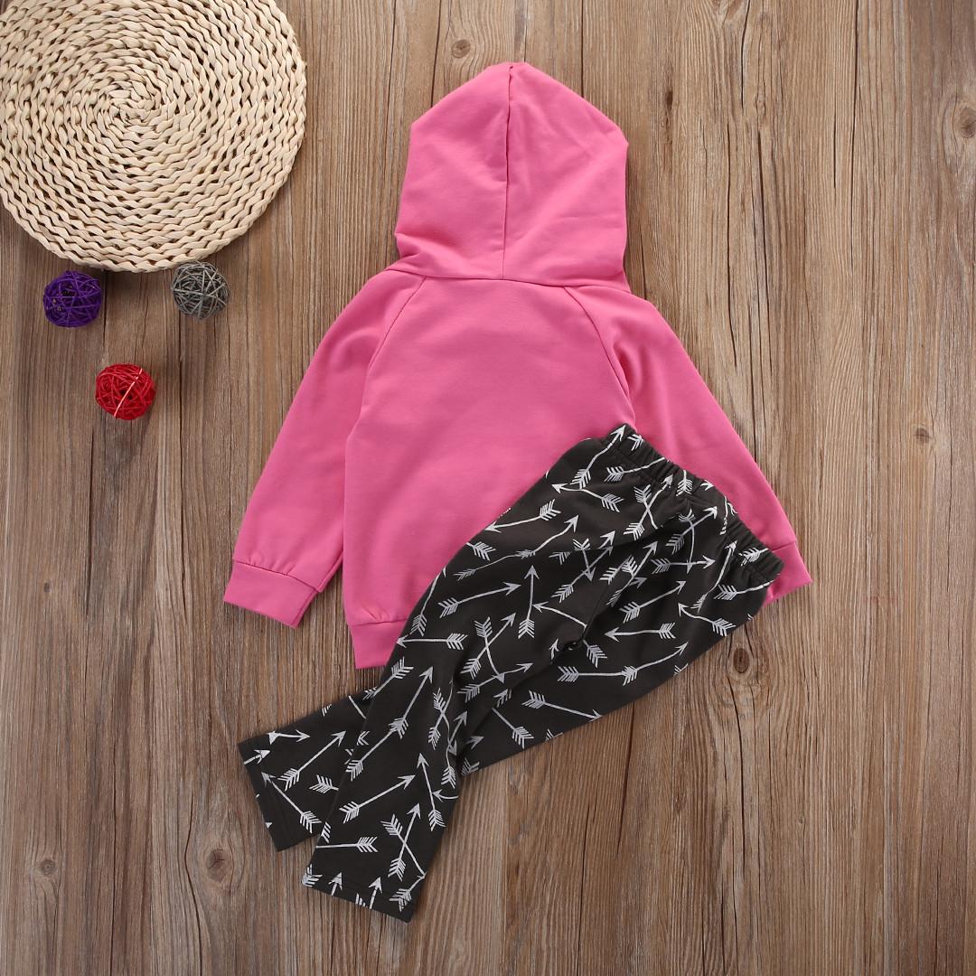 NEW Kid Newborn Baby Boy Girl Long Sleeve Hoodie Sweatshirt Top Blouse Pants Leggings Arrow Outfit Set