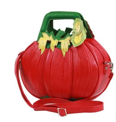 original halloween gift Amliya shaped handbag red with green color women'sl cross-body unique messenger bag novelty pumpkin bag(China (Mainland))