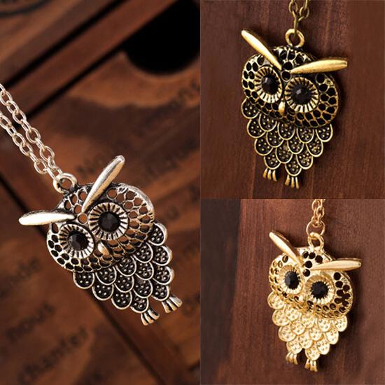 Vintage Women Owl Pendant Neclace