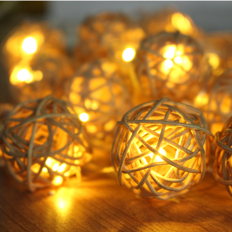 5m 20 Rattan Ball Led string light christmas 220V 110V garden holiday pendant Garland Wedding decoration fairy lights party(China (Mainland))