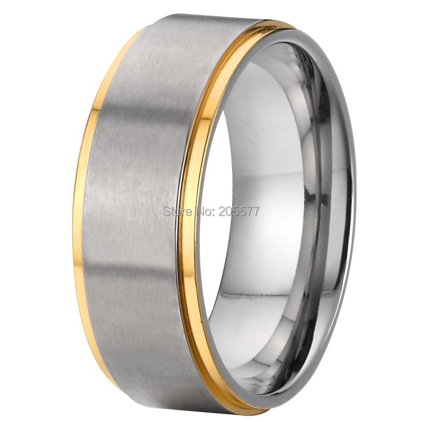 8mm Cool Man Fashion Jewelry Handmade Pure Titanium Bicolor Mens Rings Wedding Bands Rings