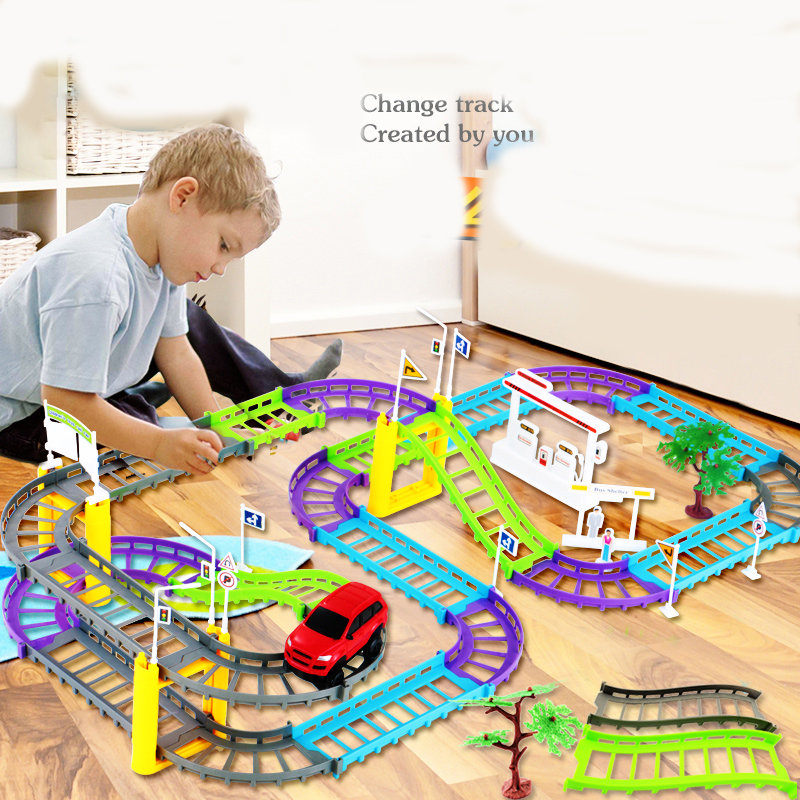 Electric train track car children's toy Thomas little train head suit car track boy toy car(China (Mainland))