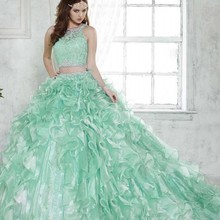 Mint Green Fashion 2 Piece Quinceanera Dresses Removable Train Lace Beading Illusion Blouse Two One Debutante Gown 2016 - 1888Wedding dress store