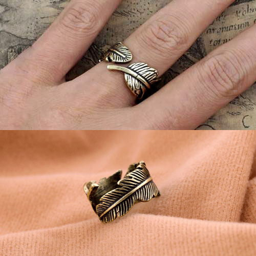vintage feather ring general wholesale charms R062TN-2(China (Mainland))