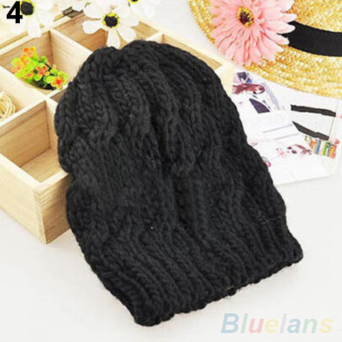Women s Winter Knit Crochet Knitting Wool Braided Baggy Beanie Ski Hat Cap 1QEX 3CF2