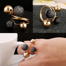Ball Resin Little Golden Beans Ring Simple Jewelry Personality Punk Ring SIZE 18mm Retail&Wholesale For Women Free Shipping(China (Mainland))