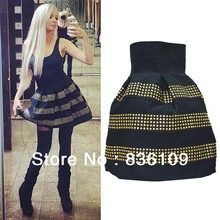 Free Shipping 2014 Women New Arrival Fashion Female Fluffy Rivet High Waist Elastic Ball Gown Plus Shorts Skirts For Women 1309