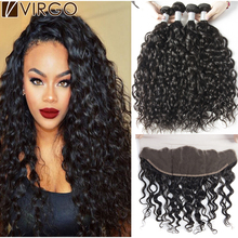 Ear To Ear Lace Frontal Closure With Bundles Wet And Wavy Brazilian Virgin Hair Water Wave 3/4 Bundles With Closure 7A Mink Hair(China (Mainland))