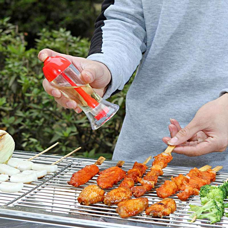 Kitchen Plastic Leakproof Spray Oil Bottle Sauce Vinegar Cooking Tool BBQ Oil Dispenser Red Color(China (Mainland))