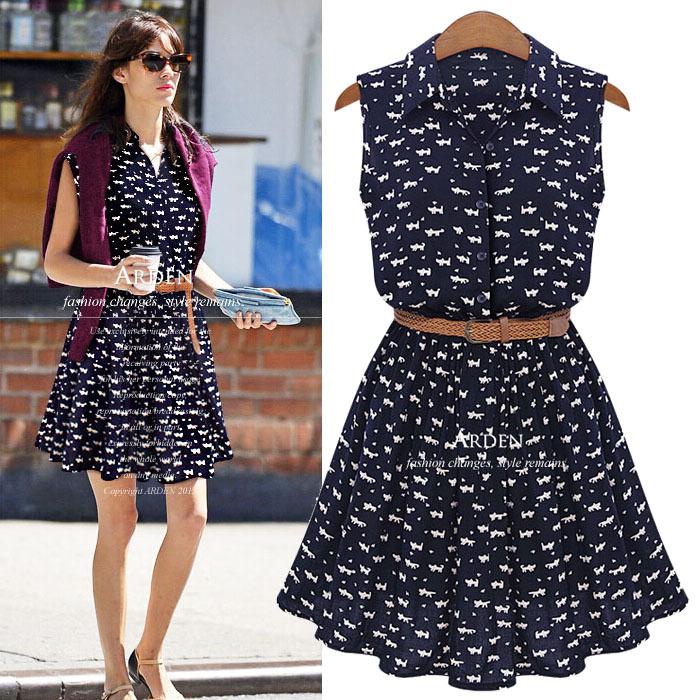 Plus Size 2015 Europe Style Summer Women Cat Footprint Sleeveless Thin Mini Shirt Dress With The Belt For Chubby S-5XL(China (Mainland))