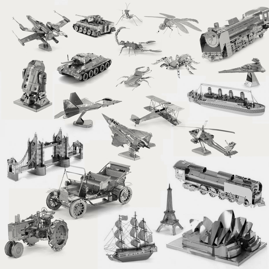 2016 3D DIY Metal Earth Puzzle Animal Fighter Vehicle Building Scale Model Star War Jigsaw Puzzles Education Metallic Nano Toys(China (Mainland))