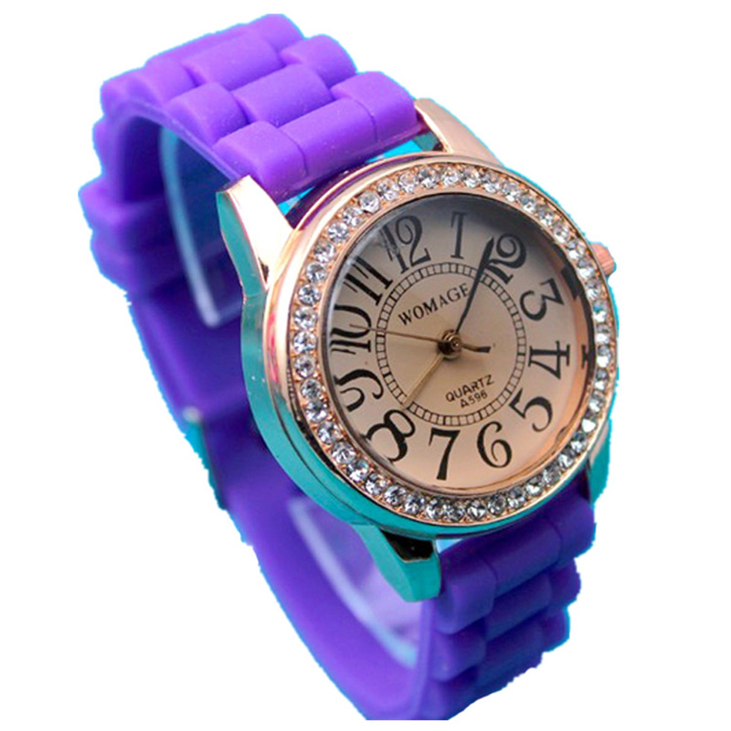 New arrival fashion design silicone band womage women's stone watch(China (Mainland))
