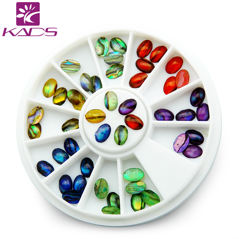 KADS Beauty Colorful Abalone Shell Design 3D Nail Art Rhinestones Acrylic Gel Nail Tips For Nail Decoration Accessories(China (Mainland))