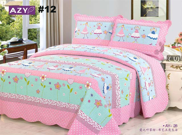 BS15#12 Free Shipping by DHL New 3 PC Quilt Bedspread Blanket Cover Rose Pink Flower Romantic Floral Design Queen, King Size(China (Mainland))