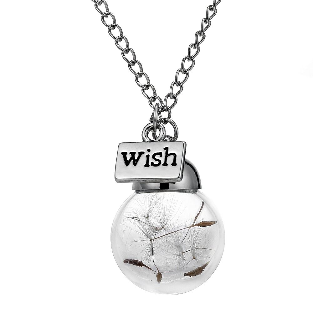 Glass bottle necklace Natural dandelion seed in glass long necklace Make A Wish Glass Bead Orb
