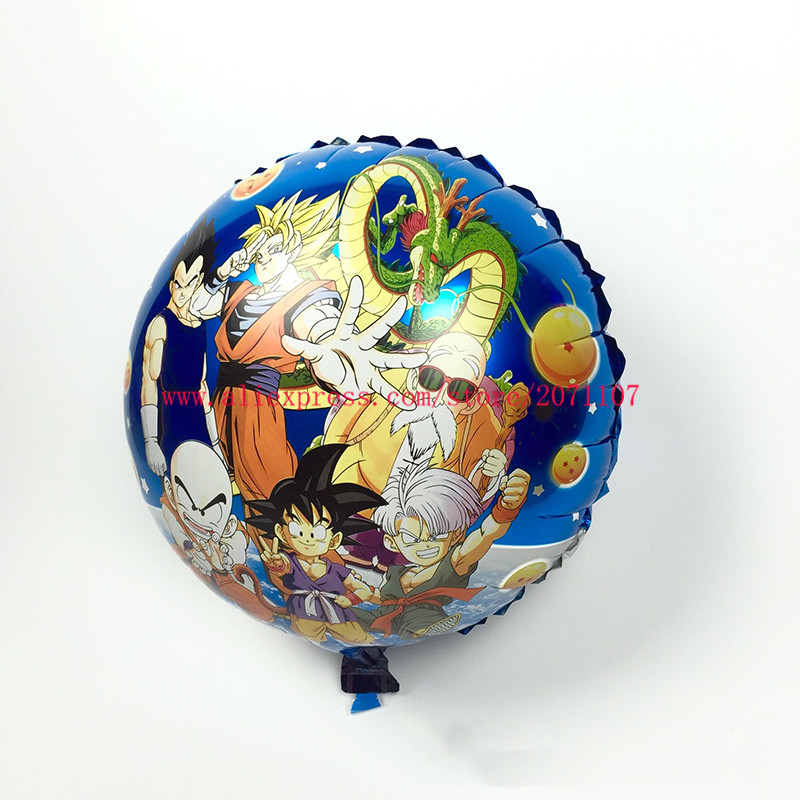 Lucky 10pcs/lot 45*45cm Round Dragon Ball Balloon Wedding Decoration Birthday Party Foil Helium Balloons Mylar Ballon Wholesale(China (Mainland))
