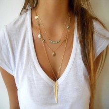 Buy New Fashion Boho Women's Simple Chain Multilayer Necklace Golden Color Stone Feather Pendant Sequins Tassel Necklace for $1.55 in AliExpress store