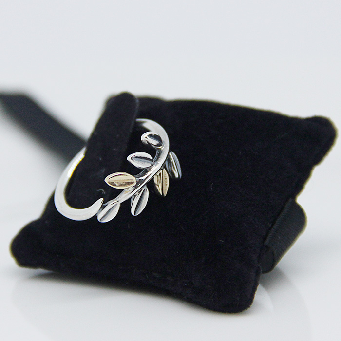 Leaves Rings with 14K Gold Plated 100% 925 Authentic Sterling Silver Jewelry For Women Free Shipping(China (Mainland))