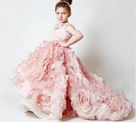 Girls Pageant dress Customize lovely Ball Gown Ruffles Pink Flower Dress kids party gown m25 - Diana-Bridal store