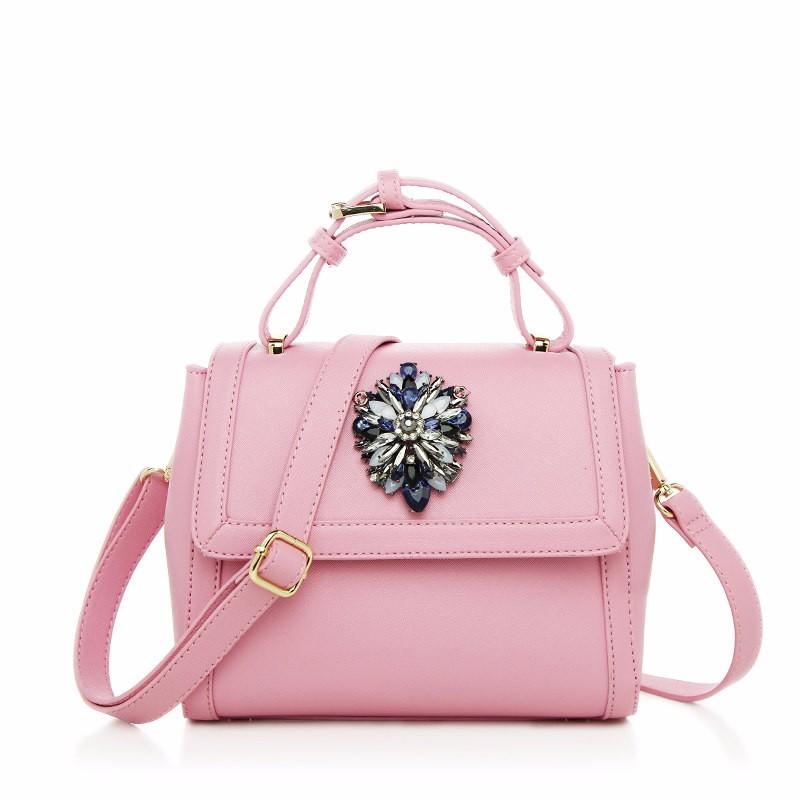 Japan & Korean Style Women Small Bag Stylish Rhinestone Inlaid Hand Bag Ladies Classy PU Leather Stylish Crossbody Bag