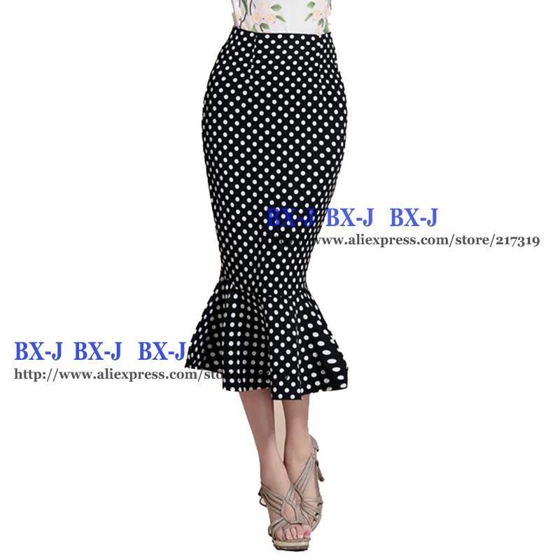 mermaid maxi skirt polka dot skirt high waist ruffles