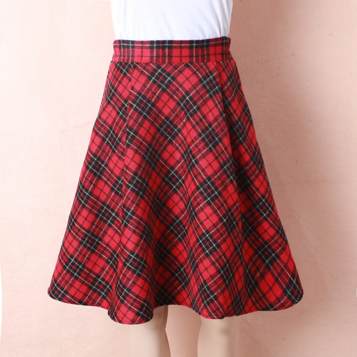 Womens Plus Size New font b Tartan b font Check Block Stretch Band Flared Skater Skirts