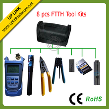 8pcs/set  Free Shipping 10-12km 10mw Fiber Optic Laser Visual Fault Locator,Optical Power Meter tool kit Fiber FTTH  tool