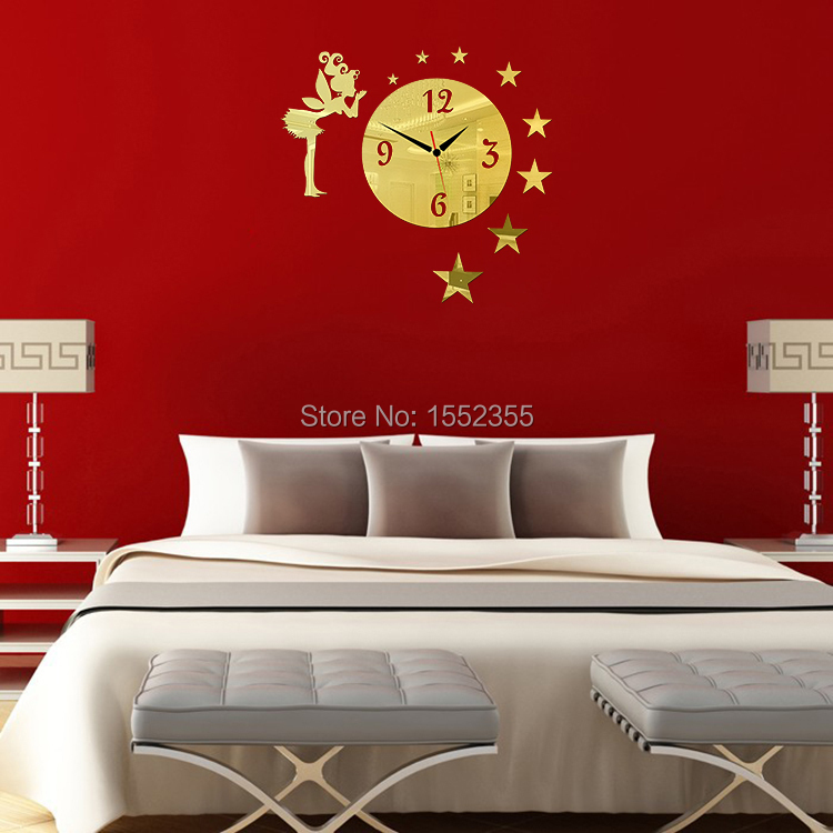 2015 New Promotion Real Home Decoration Mirror Wall Clock Clocks Living Room