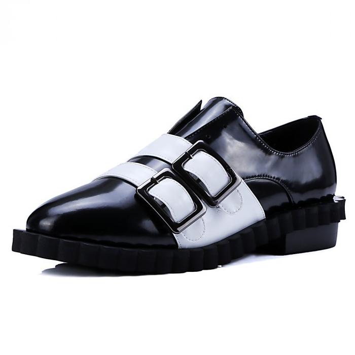 Black + white 2016 Fashion women Full Grain Leather Pointed Toe shoes Ladies Buckle Strap Mixed Colors Flat shoes for women<br><br>Aliexpress