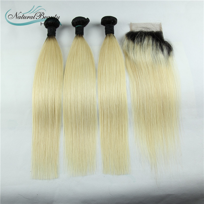 Peruvian Ombre Straight Virgin Hair 3pcs Lot 1b/613 Two Tone Human Hair Bundles 8-30inch Mixed Length Good Quality